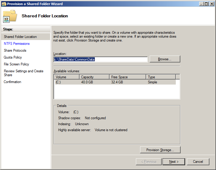 how to create a shared folder in windows server 2012