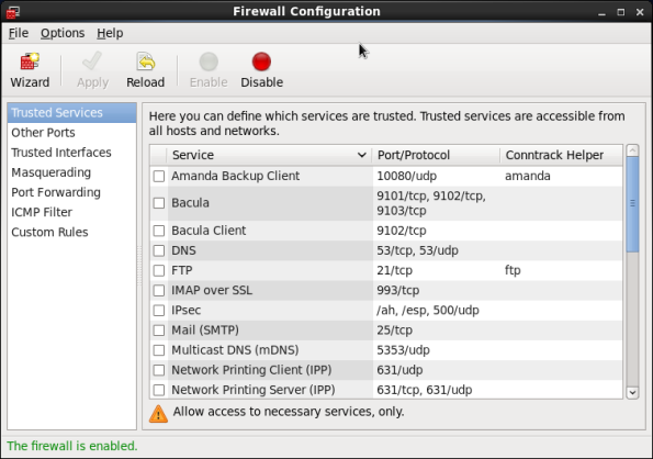 Screenshot-Firewall Configuration
